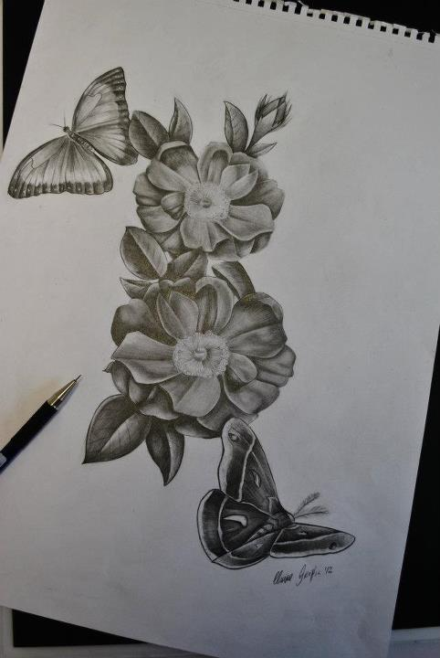 482x720 Flowers Butterfly And Moth Sketch For A Tattoo By Ronny Inked