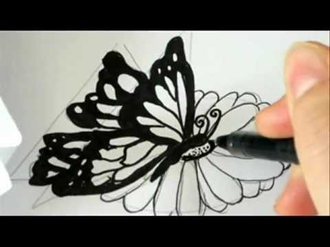 480x360 How To Draw A Butterfly Landing On A Flower !