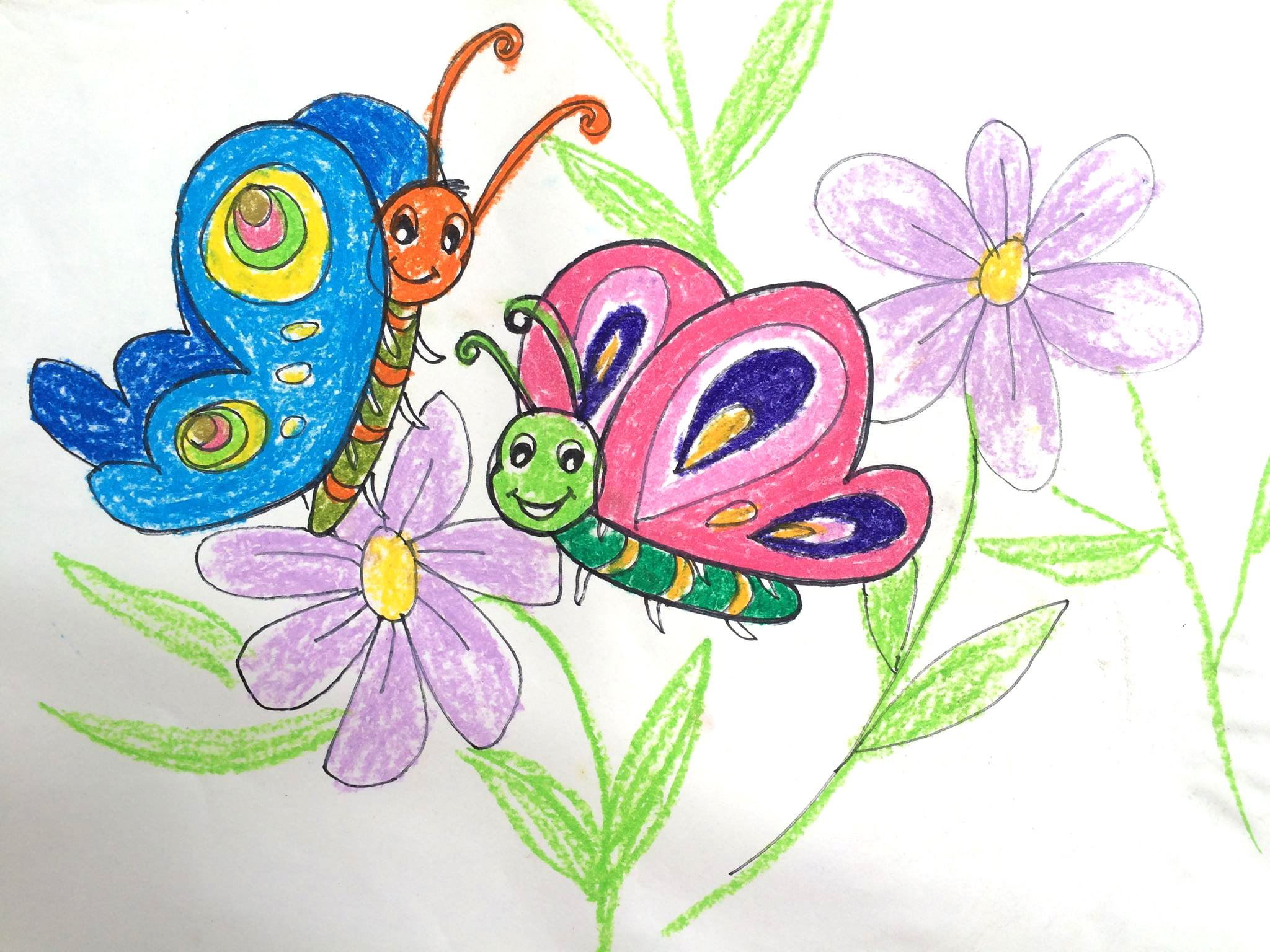 Flower With Butterfly Drawing At Getdrawings Free For Personal