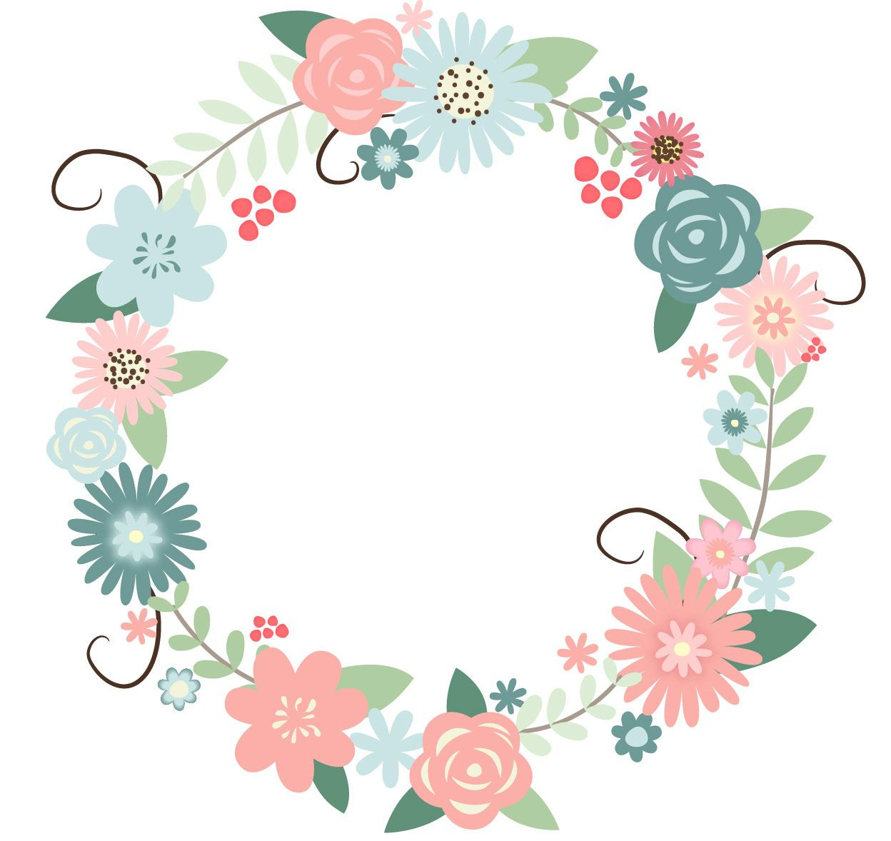 1248x1178 Recolored Floral Wreath. Watercolor Floral Wreath