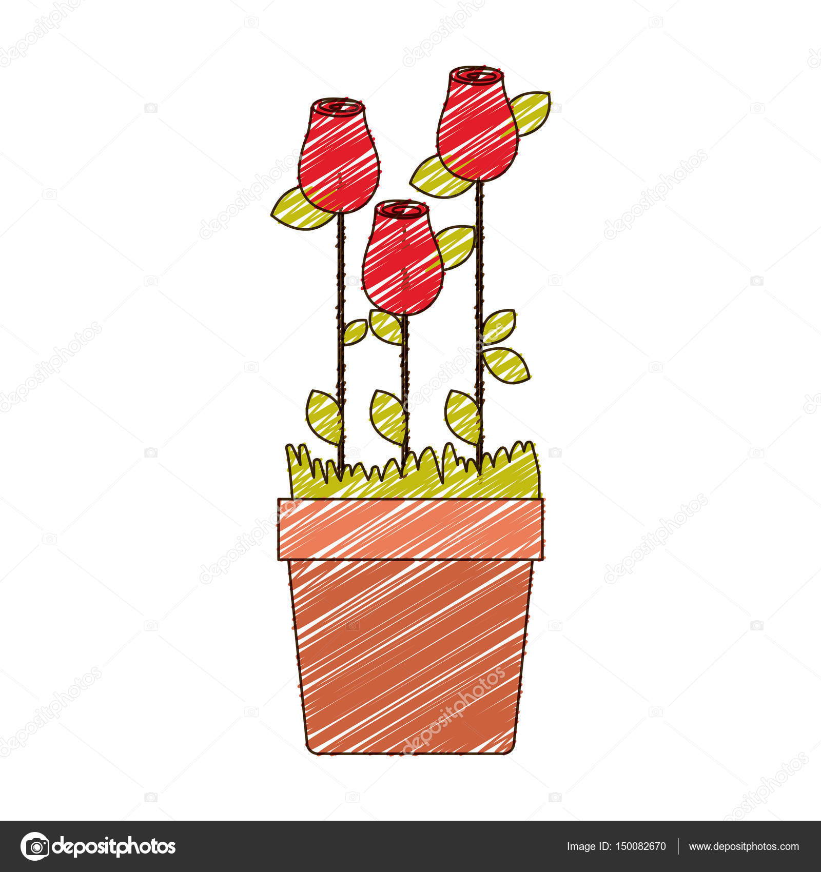 1600x1700 Color Pencil Drawing Of Rosebuds Planted With Leaves In Flowerpot