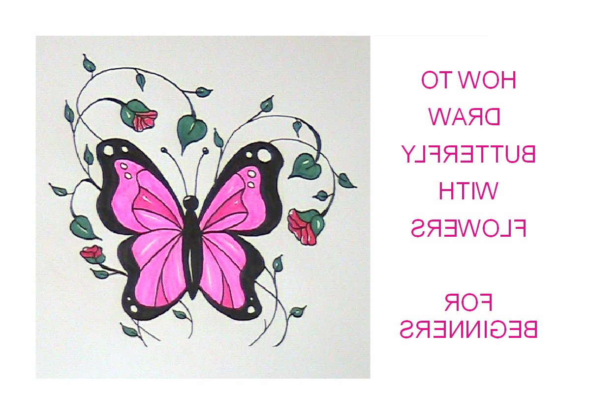 1199x845 Flowers And Butterflies Drawing How To Draw A Butterfly (With