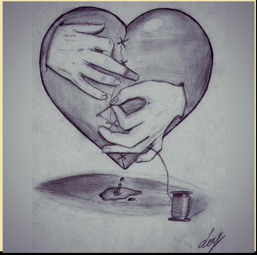 979x973 Hearts Pictures With Pencil Drawing Pencil Drawings Of Flowers