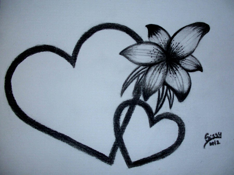 Flowers And Hearts Drawing At GetDrawings.com