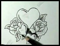 200x154 How To Draw Hearts With Roses Amp Vines With Easy Step By Step