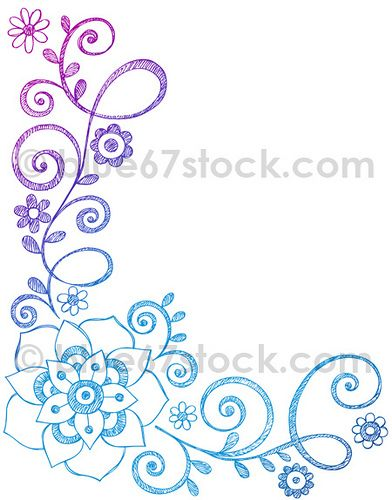 392x500 Hand Drawn Sketchy Flowers And Vines Doodle Vector Illustration