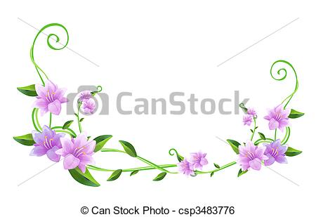 450x309 Purple Flower And Green Vines. Purple Flower With Green Stock