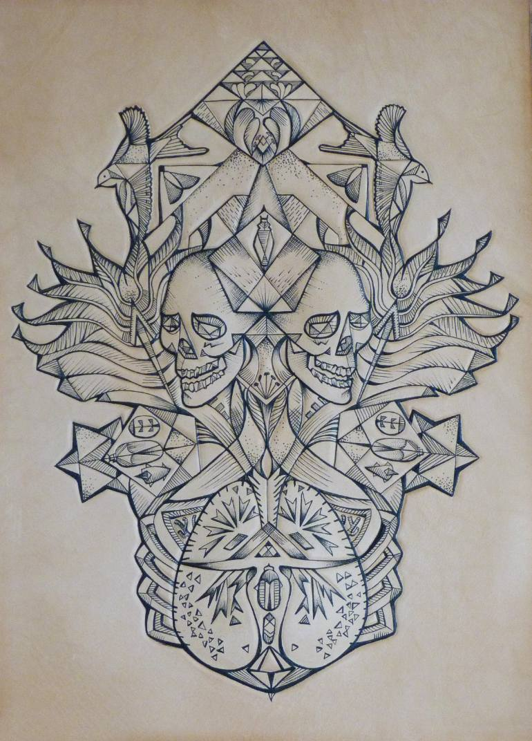 770x1072 Saatchi Art Skull With Lungs And Flowers Drawing By Punctured