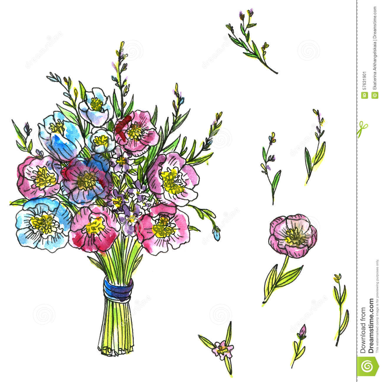 1301x1300 Drawing Of Flower Bouquet Drawn Bouquet Flower Sketch