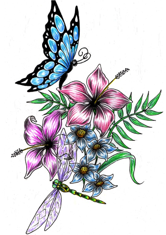 549x778 Dragonfly Buterfly Flower Design By Shadow3217
