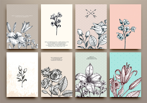 500x349 Cards Flowers Hand Drawing Vector