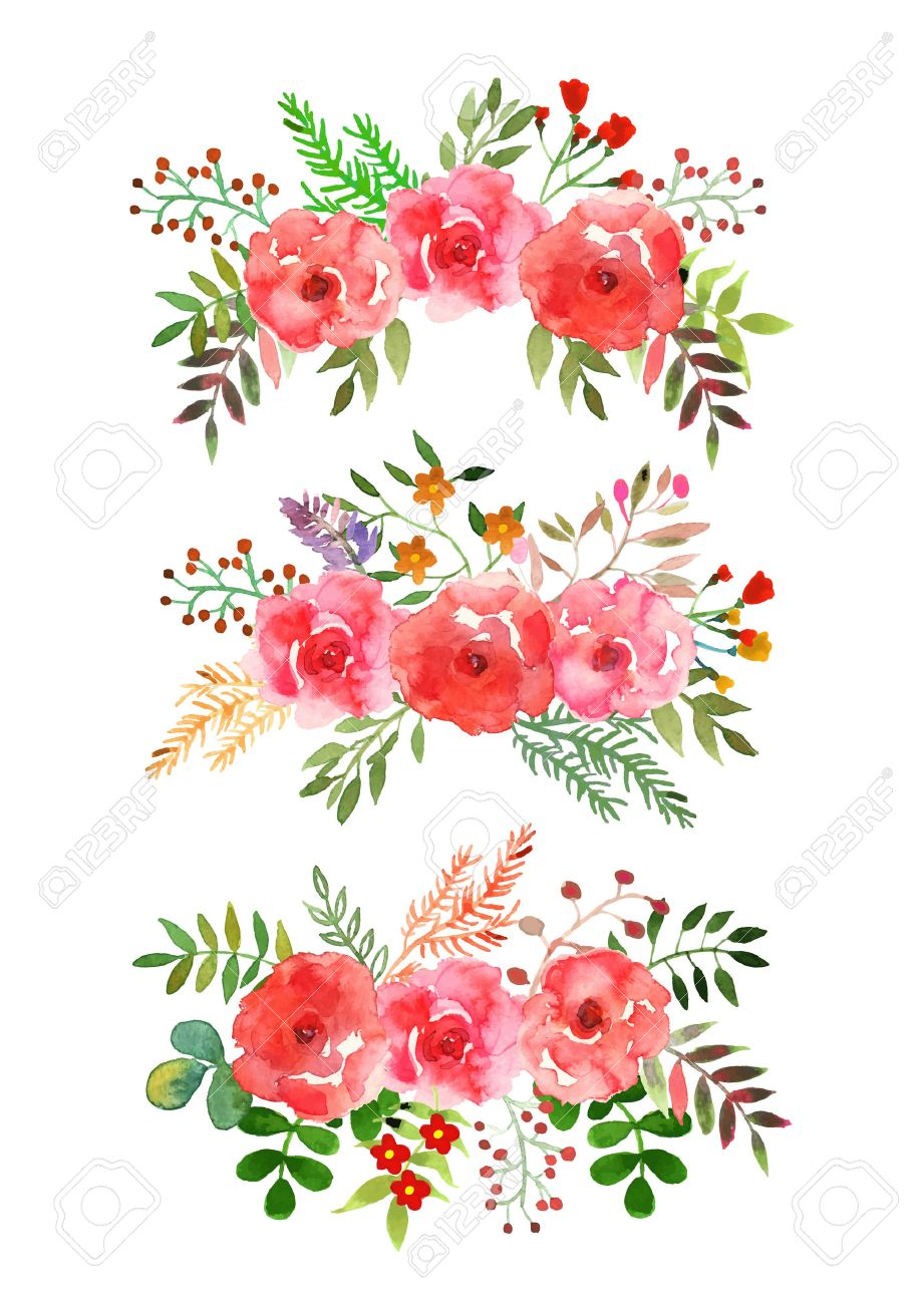 921x1300 Vector Flowers Set. Colorful Floral Collection With Leaves