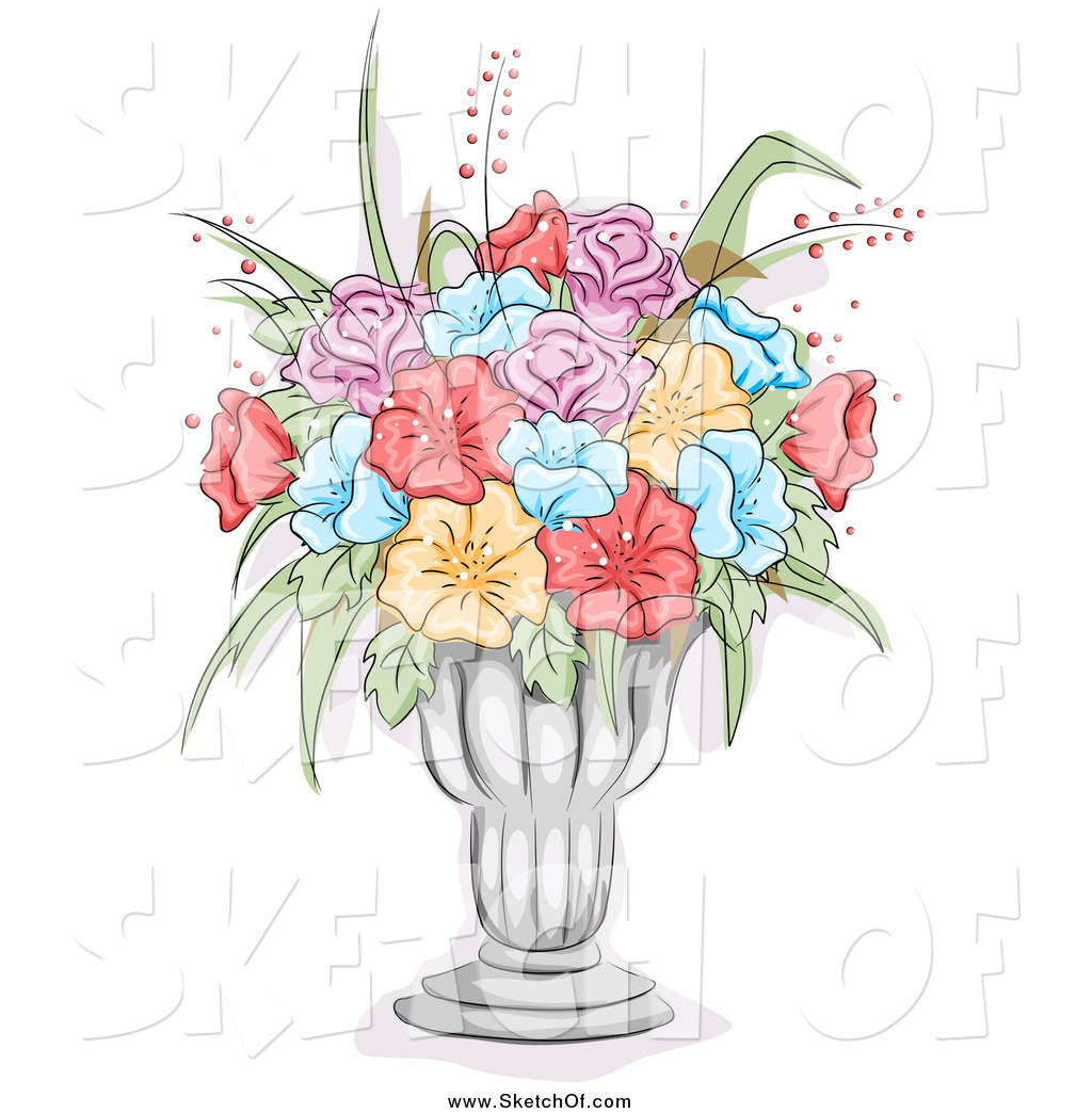 1024x1044 Drawing Of A Sketch Of Colorful Flowers In A Vase By Bnp Design