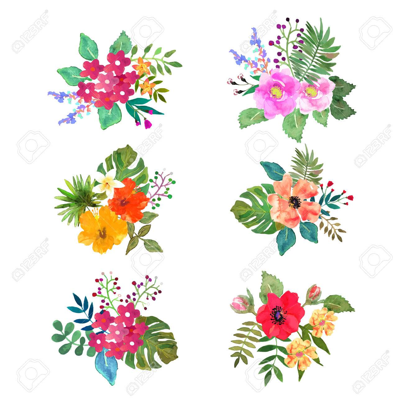 1300x1300 Floral Set. Colorful Floral Collection With Leafs And Flowers