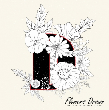 465x468 Flowers Drawing Classical Handdrawn Sketch Vectors Stock In Format