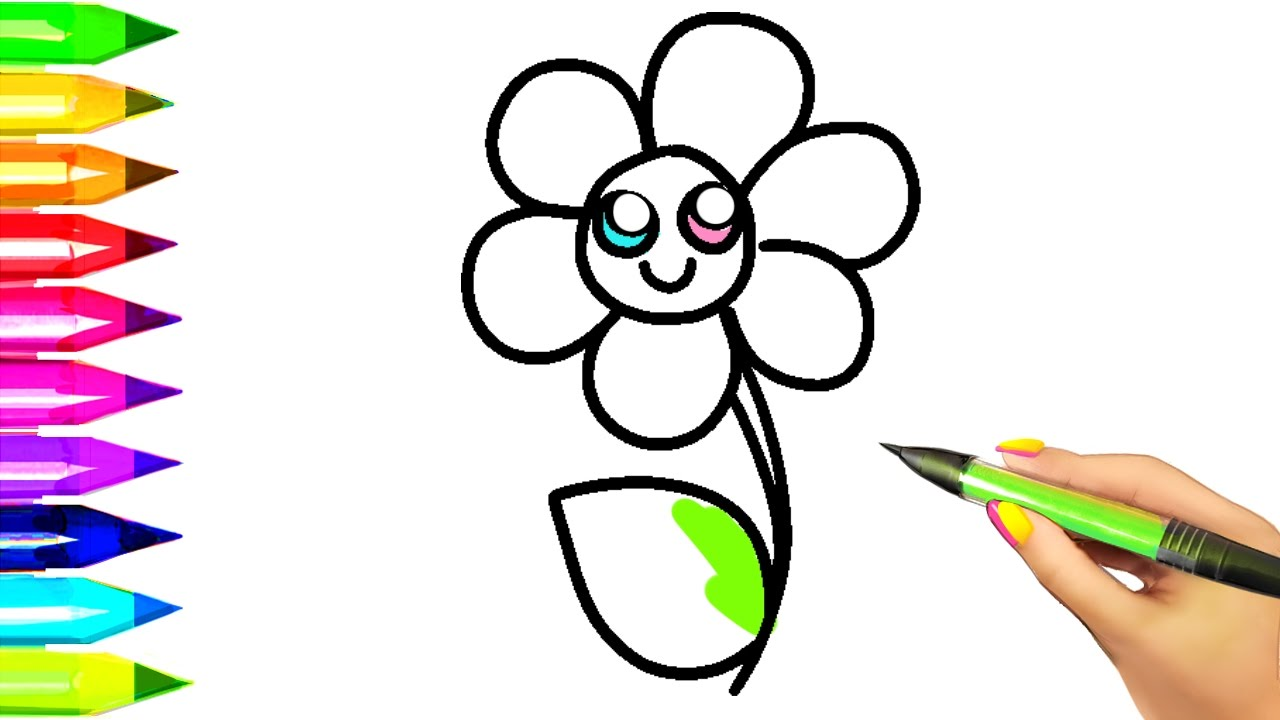 1280x720 Simple Flower Coloring Pages For Kids Easy Example How To Draw