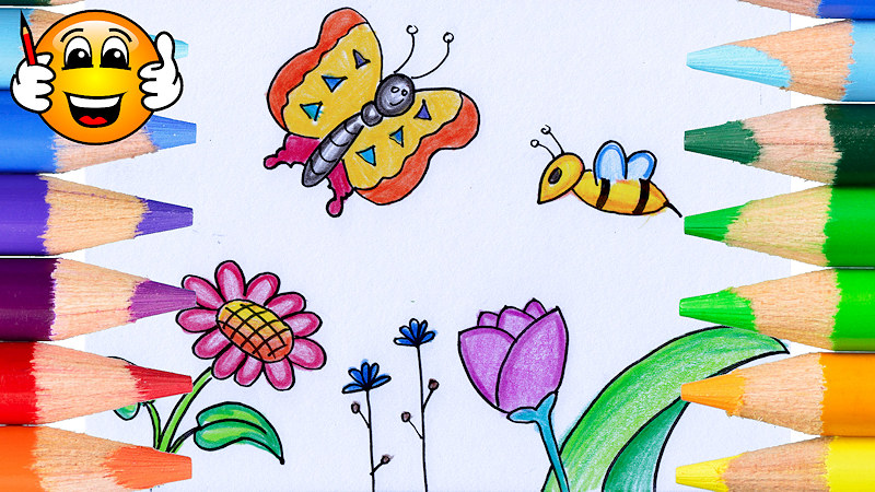 800x450 Learn To Draw A Flowers With Butterfly And Bee Coloring Page