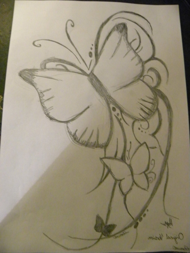 768x1024 Photos Of Flowers Pencil Sketch Butterfly And Flower In Pencil Art