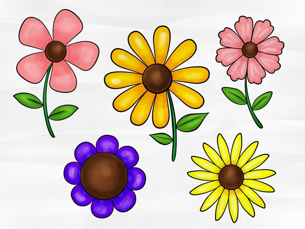 1024x768 Simple Flower Drawings How To Draw A Simple Flower 5 Steps