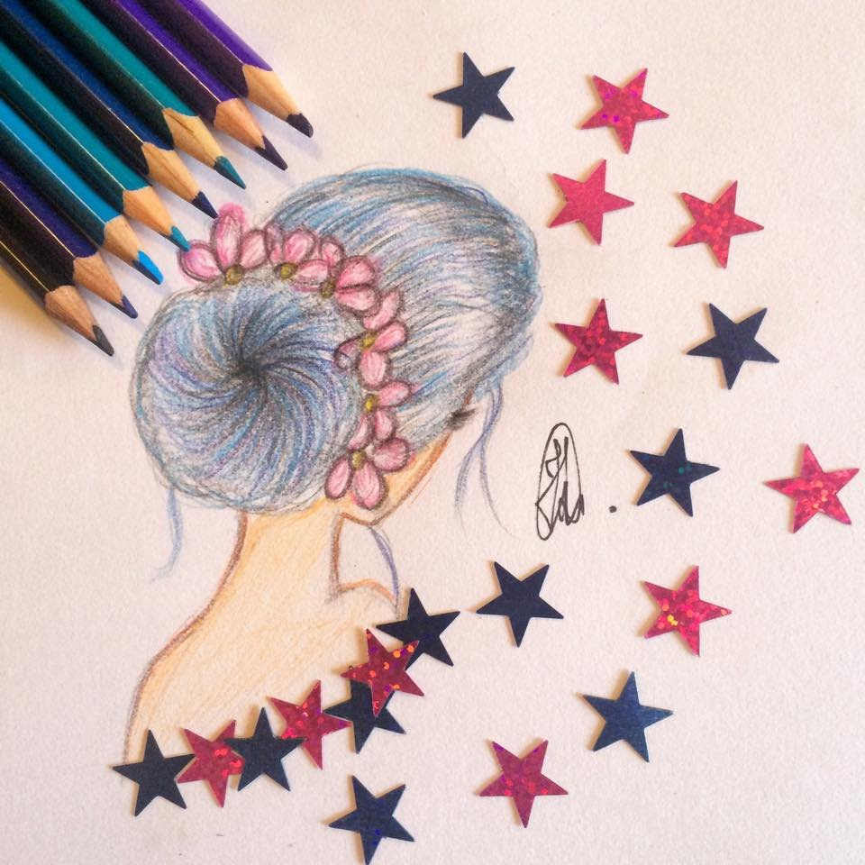 960x960 How To Draw A Girl With Blue Hairbun And Flowers Tumblr