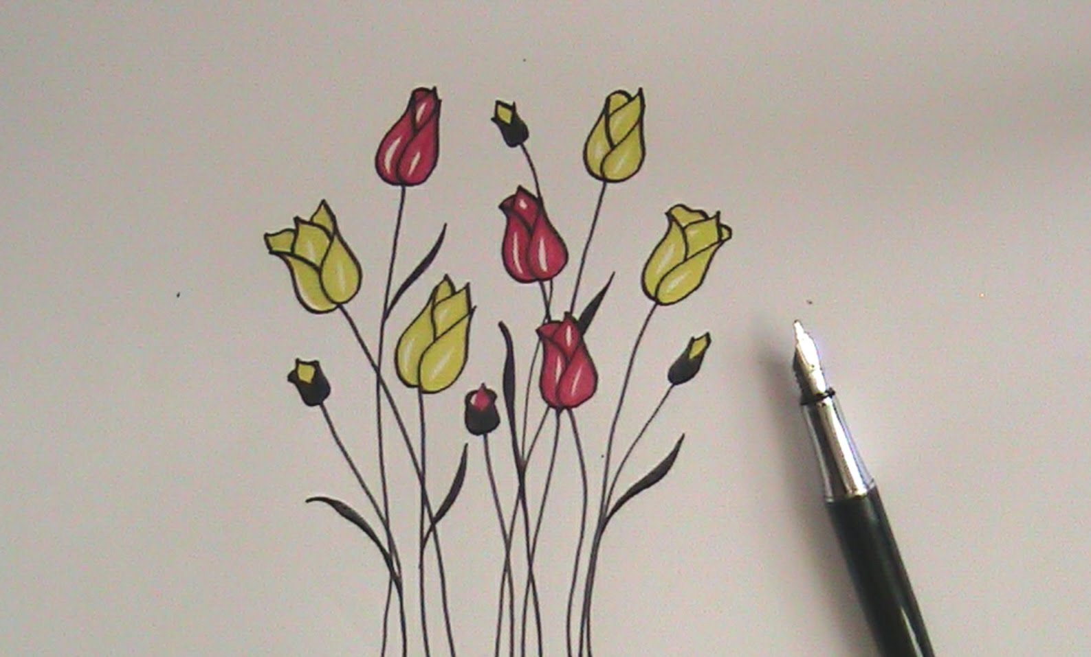 1587x957 How To Draw Flowers For Beginners Easy Version Tulip Flowers