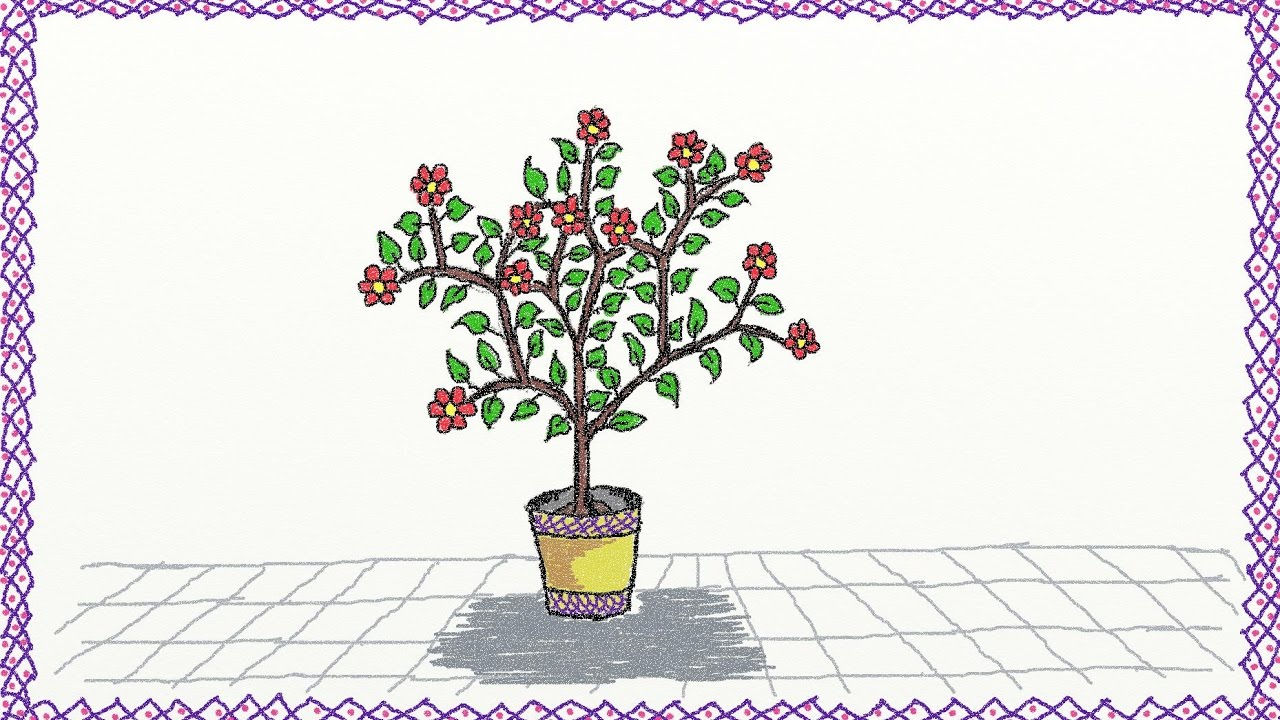1280x720 Drawing A Simple Flower Pot How To Draw A Flower Pot Drawing