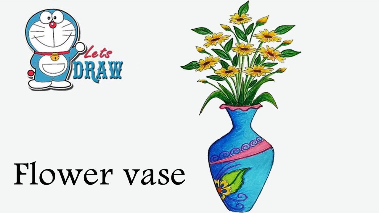 1280x720 Flower Pot Drawing In Colour How To Draw Flower Vase Step By Step