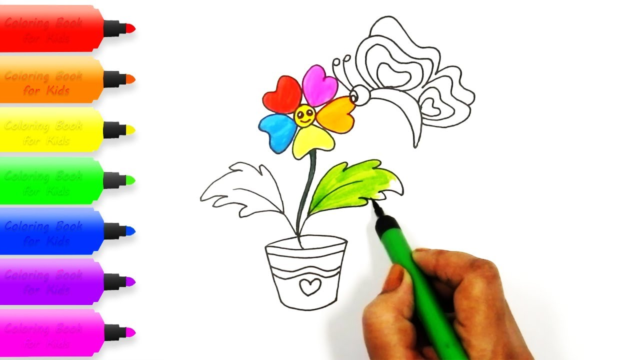 1280x720 Flower Pot Drawing And Coloring For Kids How To Draw Learn