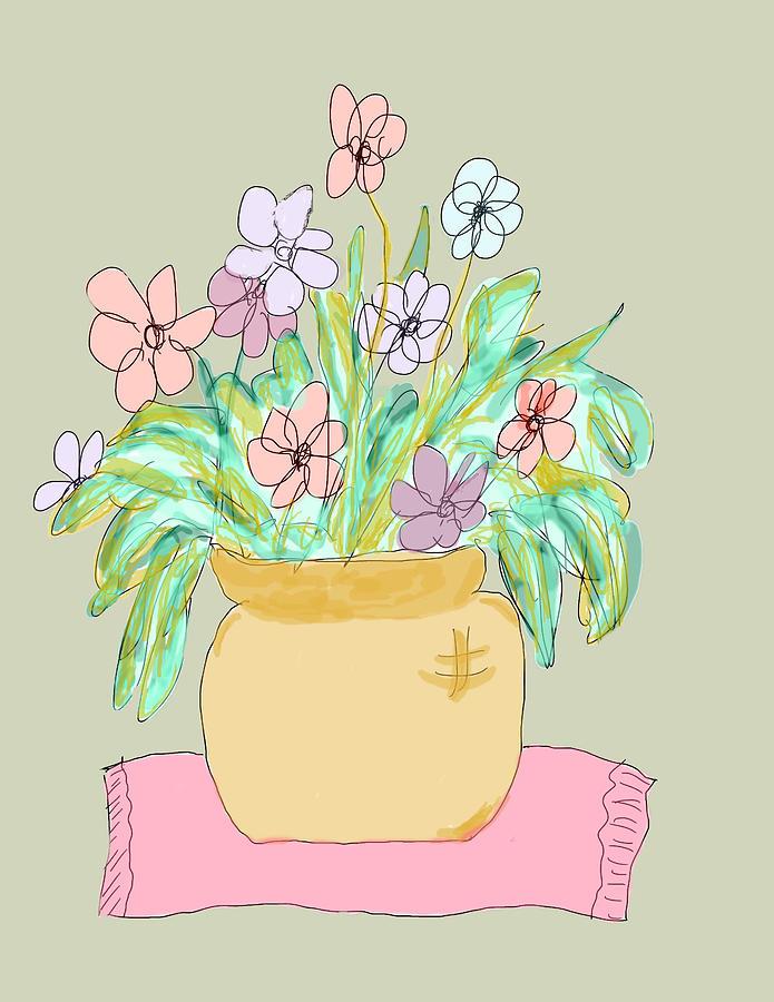 695x900 Flowers In A Pot Drawing By Rosalie Scanlon