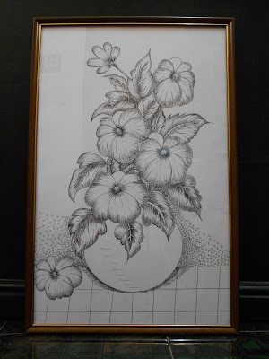 300x400 Flowers In Pot (Pencil Drawing)