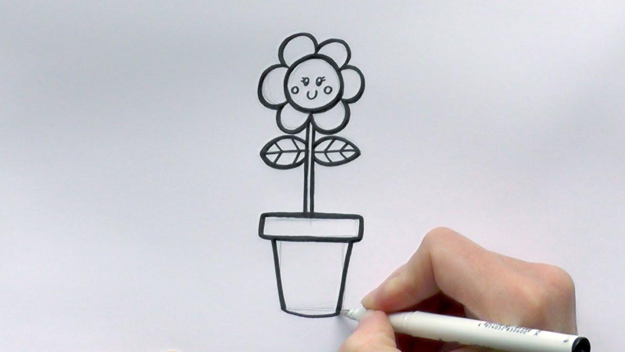 1280x720 How To Draw A Cartoon Flower In A Flowerpot