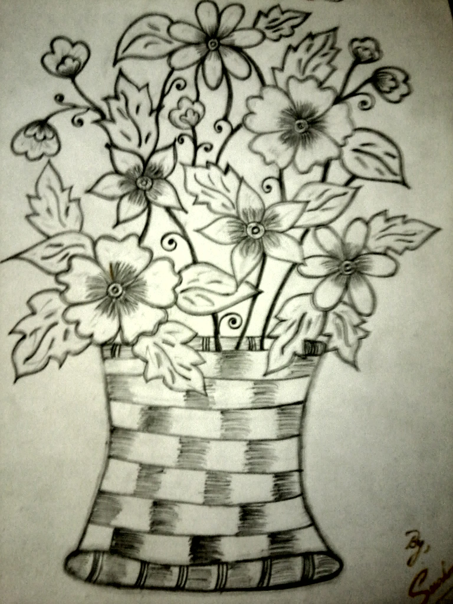 1536x2048 Drawn Vase Pencil Shading And In Color Flower Drawing 772x1024h