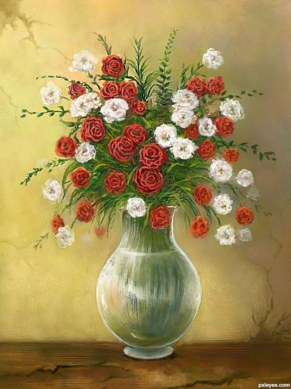 1000x1333 Drawn Vase Real Flower