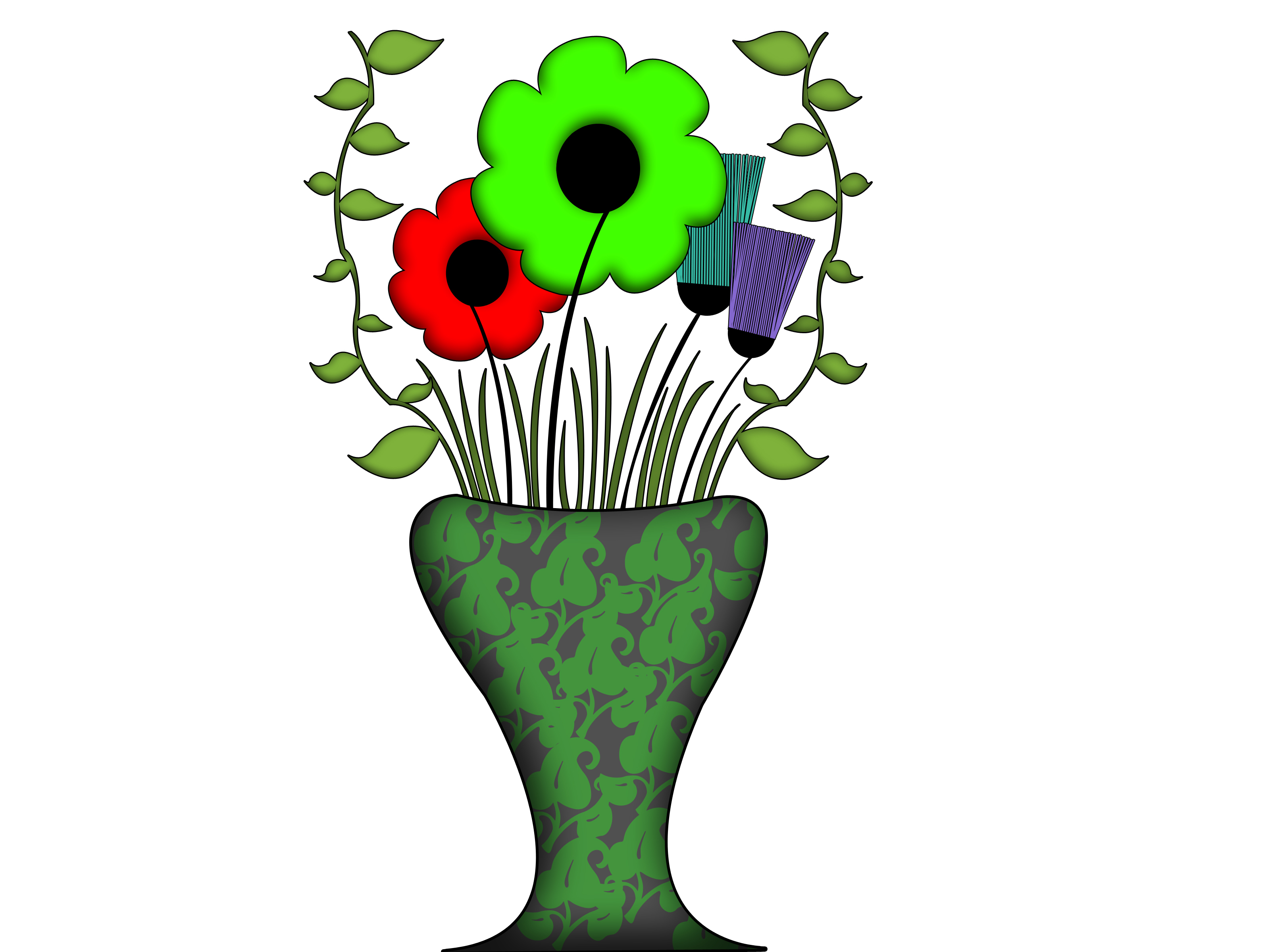 3200x2400 Flower Vase Drawing With Colour How To Draw Flowers And Leaves