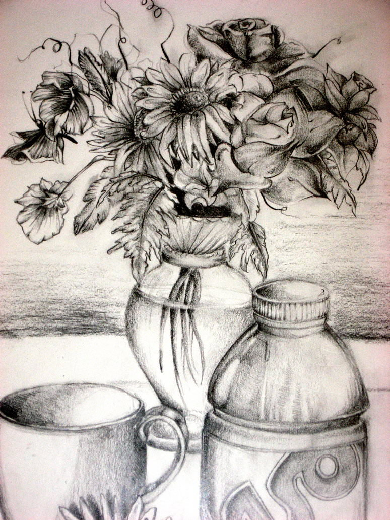 774x1032 Vase With Flowers Pencil Shading How To Draw A Flower Vase