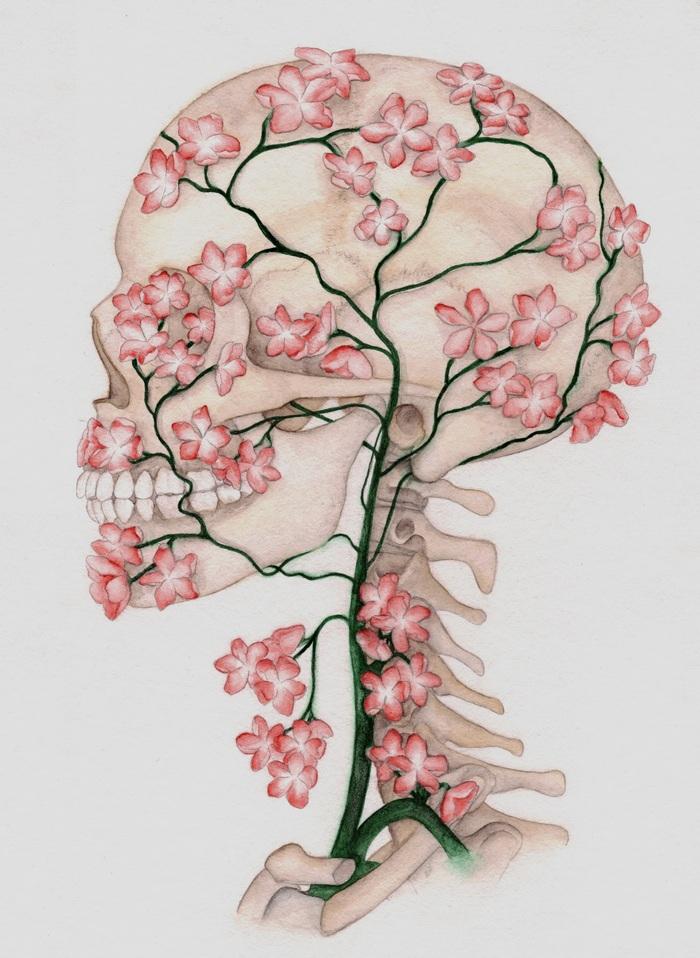 700x958 Flower Skull Drawing