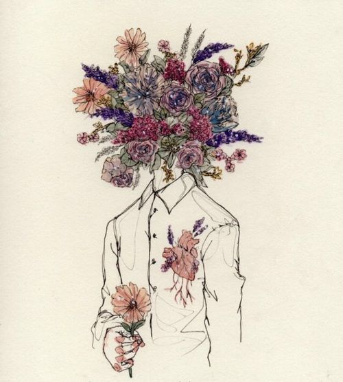 500x556 Image Result For Girl Holding Flowers Drawing Tumblr Things