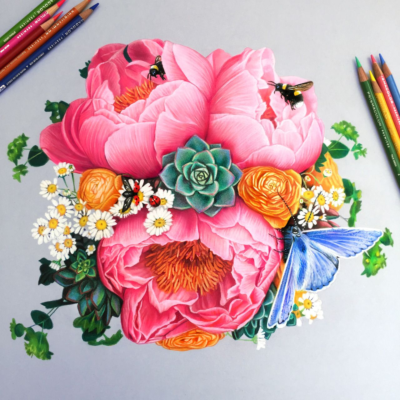 1280x1280 Pictures Drawing Colored Flowers Tumblr,