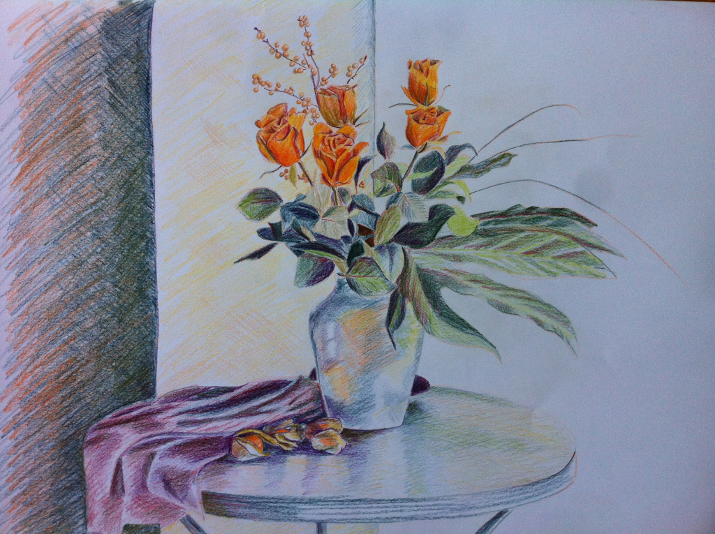 1024x765 Colourful Flowers Drawing With Flower Vase Drawing Plants