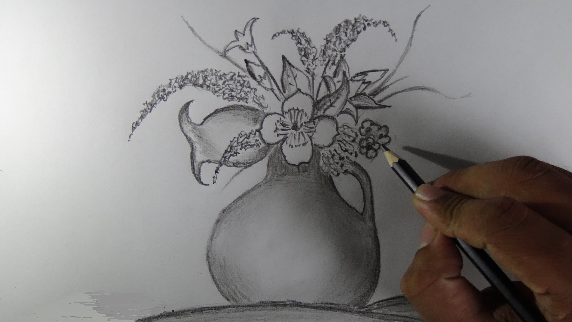 1920x1080 Pencil Drawing Of Flowers How To Draw A Flower Vase