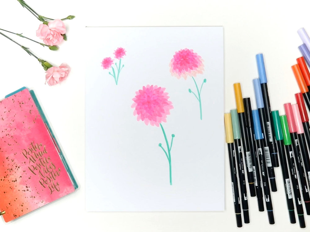 1000x750 6 Easy Flowers To Draw With Tombow Markers Brown Paper Bunny Studio