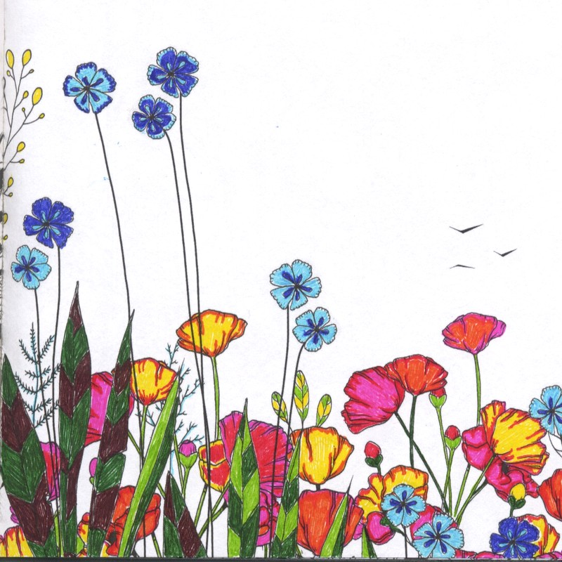 Flowers With Markers Drawing At GetDrawings