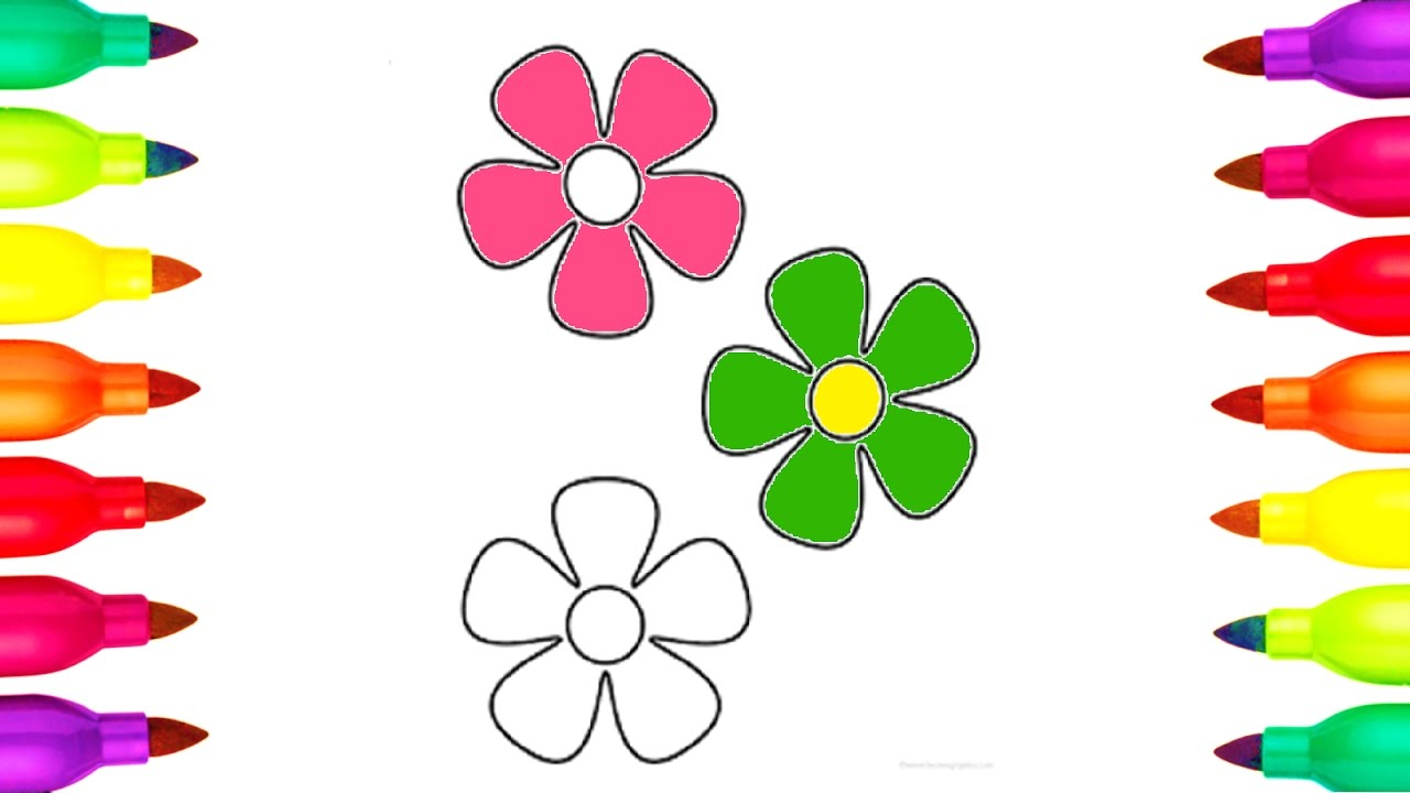 1280x720 Colours For Kids How To Draw And Colour Flowers Colouring Videos