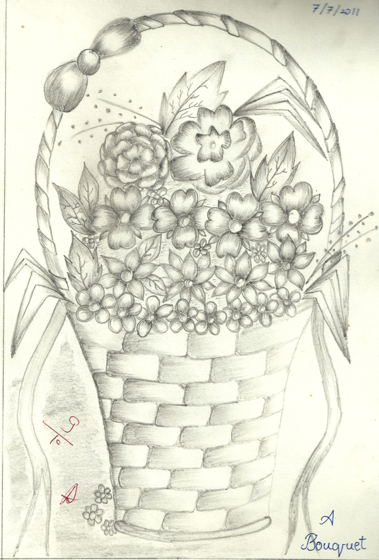 1280x1891 Pictures Drawing Of Basket Full Of Flowers Pencil Sketch