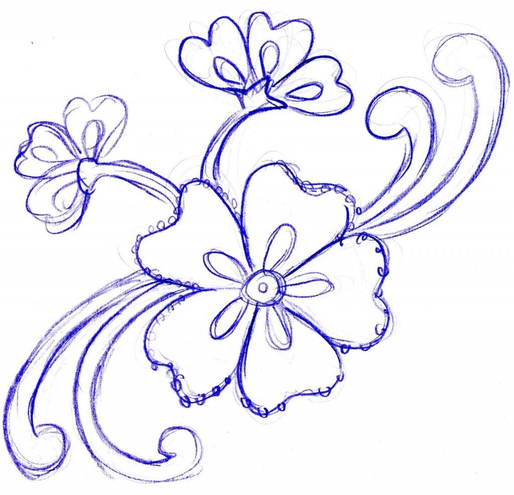 1024x986 Simple Pencil Sketch Of Flowers Pencil Sketch Simple Flower Simple