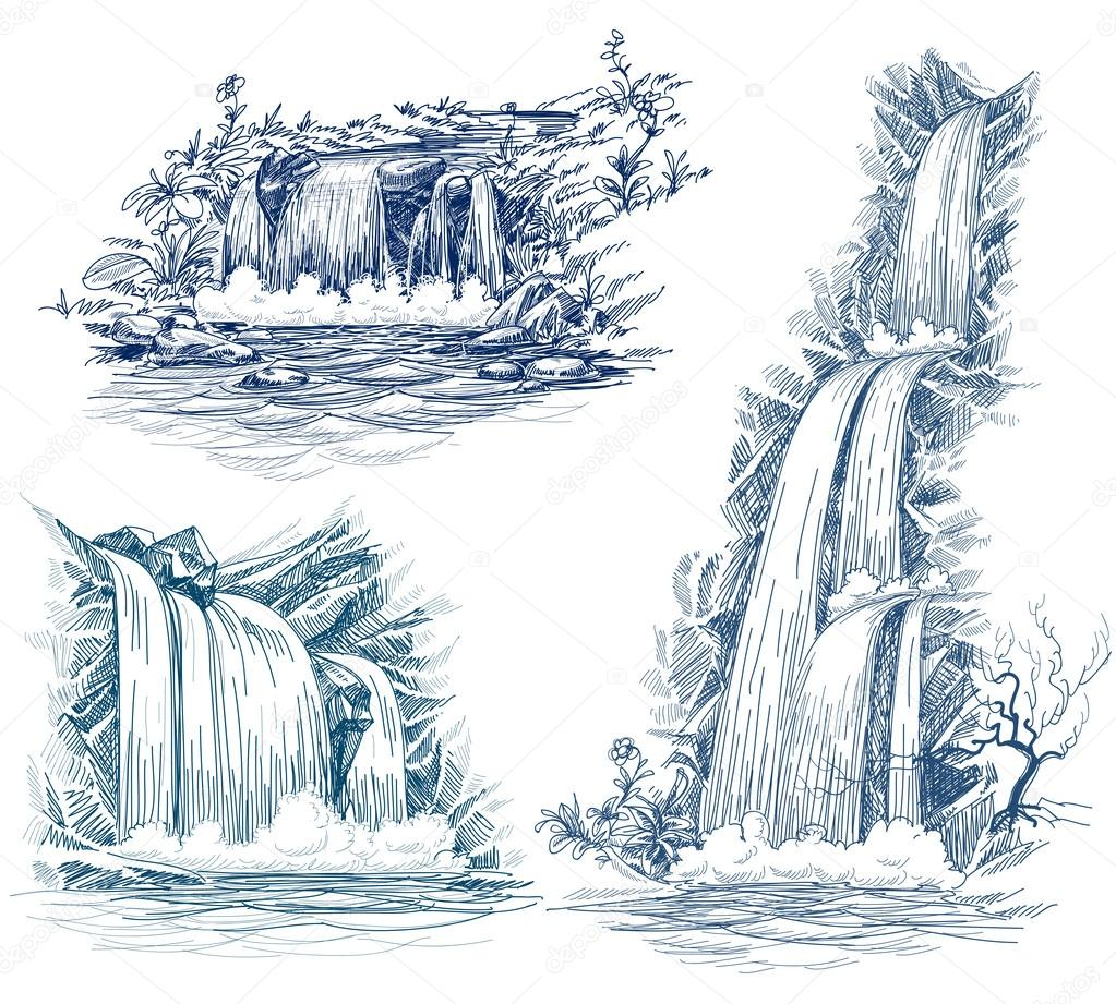 1023x921 Flowing River Stock Vectors, Royalty Free Flowing River