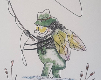 340x270 Fly Fishing Drawing Etsy