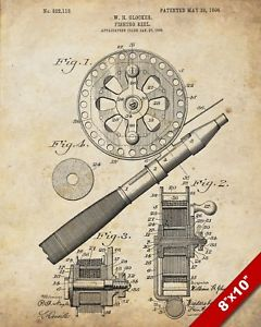240x300 Fly Fishing Rod Reel Us Patent Technical Drawing Real Canvas Fish