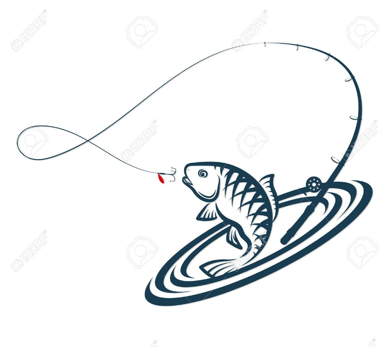 1300x1155 Fish And Fishing Rod Jumping Silhouette Royalty Free Cliparts