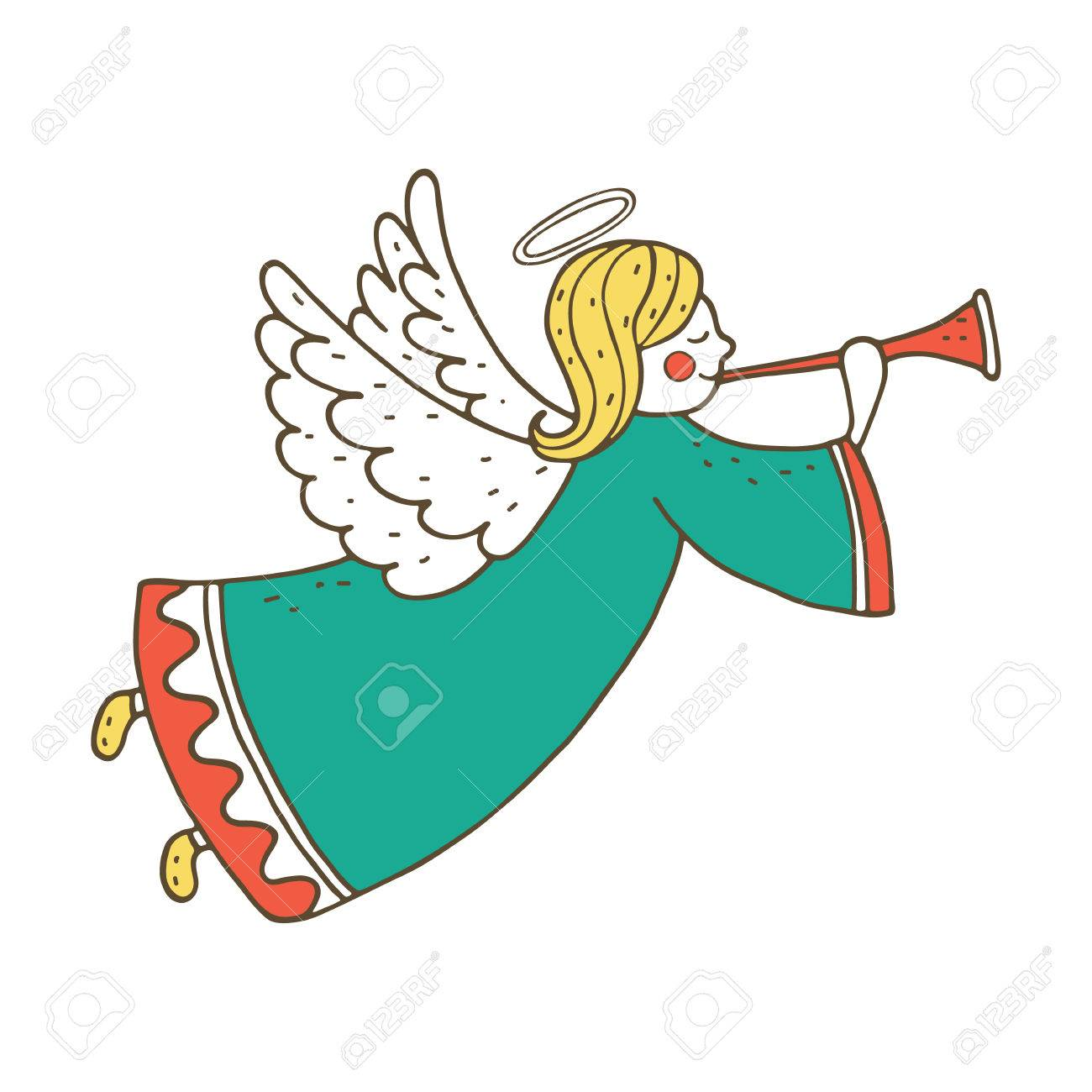 1300x1300 Cute Flying Angel With Flute. Hand Drawing Illustration Royalty